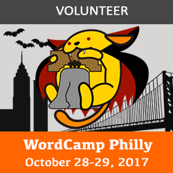 WordCamp Philly 2017 volunteer badge