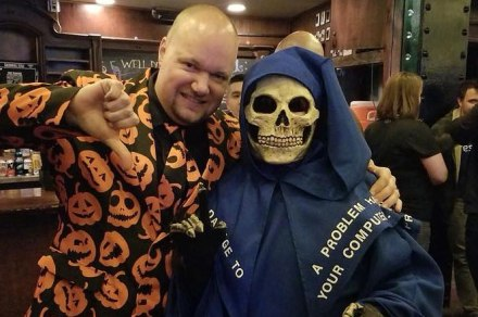 Brad Williams and Susan Walker in Halloween costume at the WordCamp Philly 2017 after-party